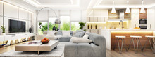 Big Living Room And Modern Kitchen