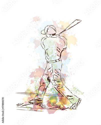 Watercolor sketch of Baseball player playing Baseball in vector illustration.