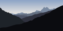 Blue Silhoette Of Mountains