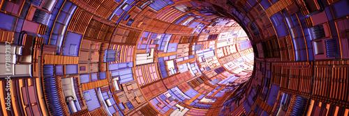 Plakat streszczenie tunelu technologii z jasnym światłem na końcu