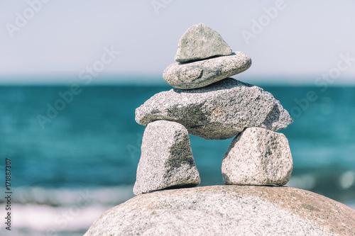 Inukshuk Rock balancing in Vancouver stone stacking garden