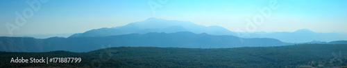 Printed kitchen splashbacks Light blue A panoramic view of Srd hill in the morning with a mountain in the background.