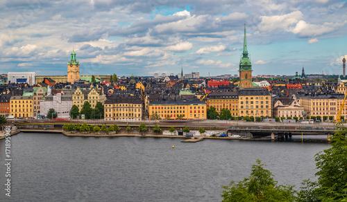 Spoed Foto op Canvas Stockholm View onto Stockholm old town Gamla Stan in Sweden