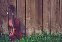Violin On Green Grass Lying Ag...