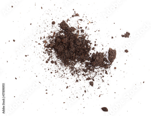 Pile of soil isolated on white background, top view Wall mural