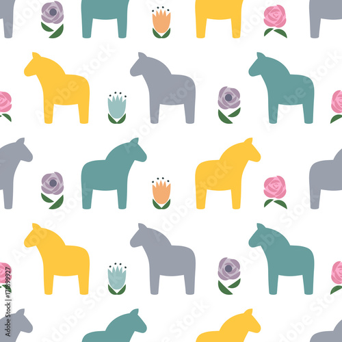 Scandinavian Style Pattern With Traditional Horses And Flowers. Cute Animal  Illustration Card. Decorative Seamless