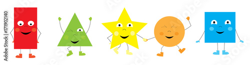 collection of happy funny basic shapes for children / vectors illustration for kids