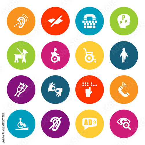Set Of 16 Accessibility Icons Set Canvas Print