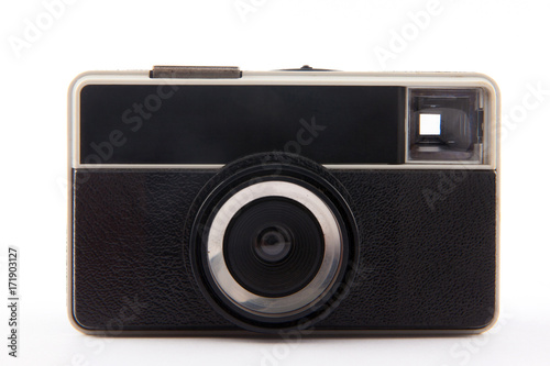 Photo  Old viewfinder analog camera from 1970s