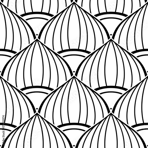 Fototapeta Black and White Seamless Pattern with Ethnic Motifs Endless Texture with Abstract Design Element Art Deco, Nouveau, Islamic, Arabic Style Pressured Printing Template Vector Contour Illustration
