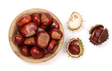 Chestnut In A Wooden Bowl Isol...