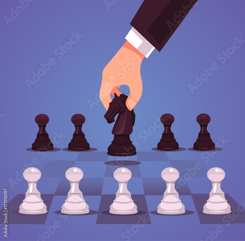 Photo  Businessman office worker manager character hand make business strategic chess move horse