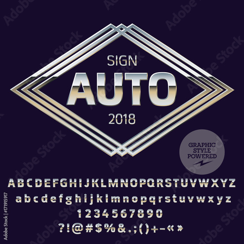 Vector Silver Logo Template For Luxury Car Shop Chrome Set Of