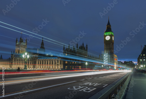 Westminster bridge, Big Ben at night Wallpaper Mural