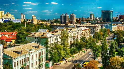 Fotobehang Kiev Kiev or Kiyv, Ukraine: aerial panoramic view of the city center in the summer