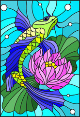 Obraz na SzkleIllustration in style of a stained-glass window with a bright fish and a flower of a lotus against water and vials of air