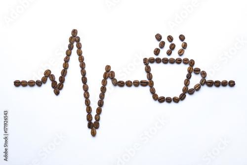Papiers peints Café en grains Cardiogram and cup drawn with coffee beans