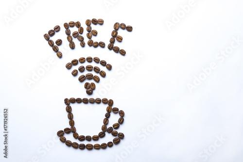 Papiers peints Café en grains Free wi-fi and a cup painted with coffee beans