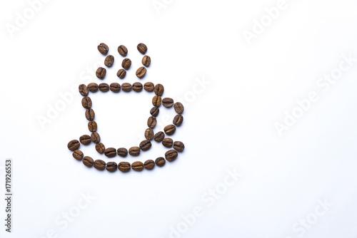 Papiers peints Café en grains Cup drawn with coffee beans