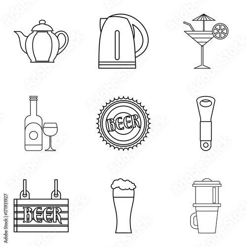 Fotografija  Drunken binge icons set, outline style