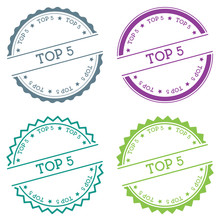 Top 5 Badge Isolated On White Background. Flat Style Round Label With Text. Circular Emblem Vector Illustration.