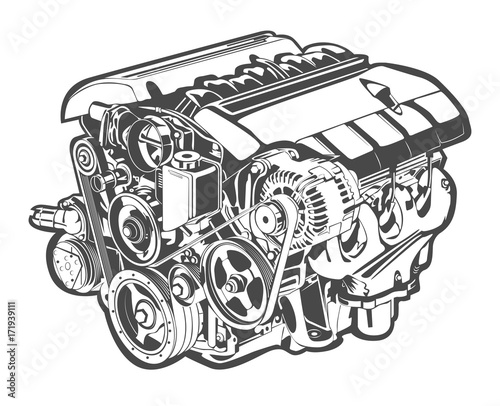 Fotografia, Obraz vector high detailed illustration of abstract engine