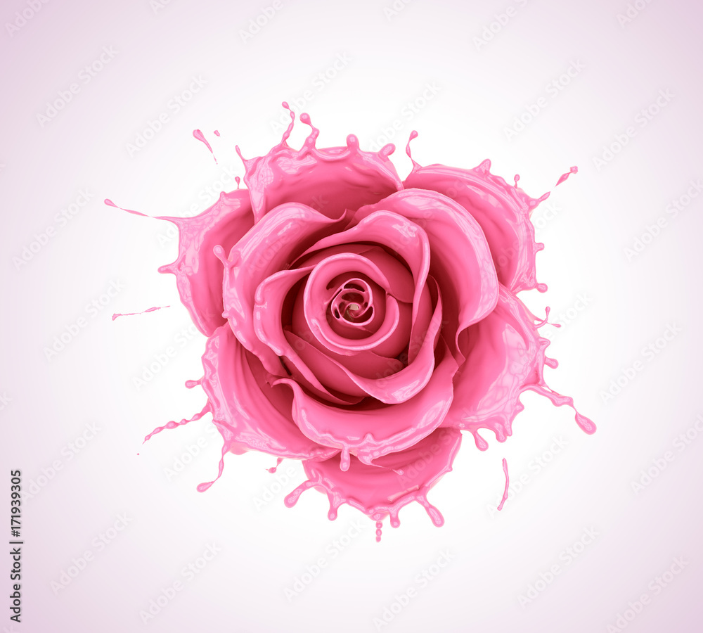 splash of juice or yogurt flower rose, pink liquid flower shape,milk isolated with clipping path.