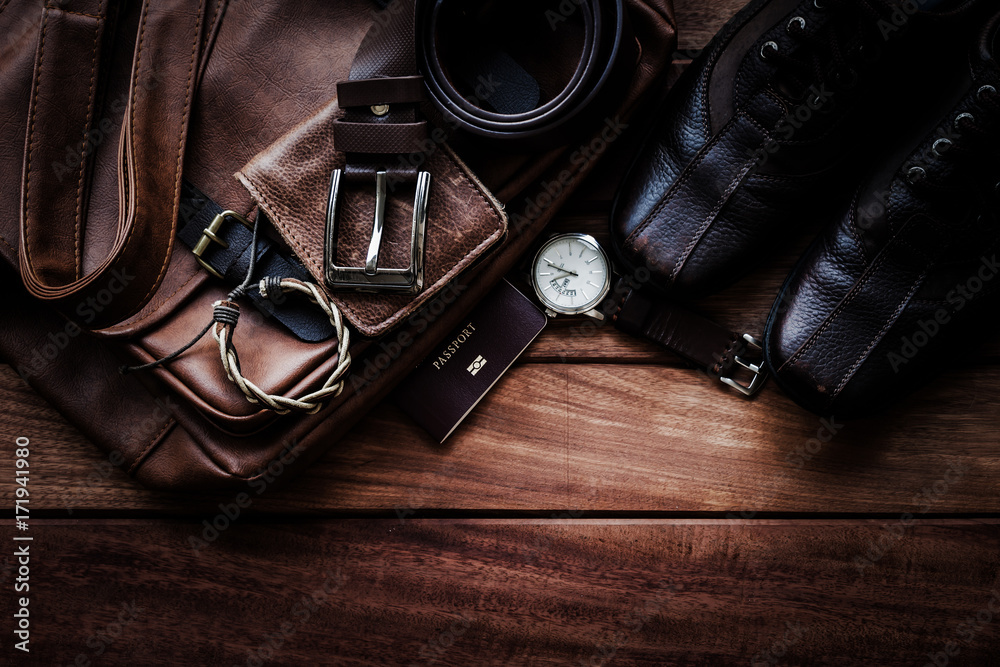 Fototapety, obrazy: Men's leather accessories and passport on rustic wooden background, fashion and beauty, travel concept