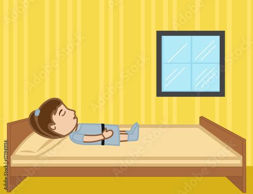 Cartoon Kid Girl Sleeping On Bed Vector Clip Art Illustration
