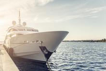 White Yacht At The Marina.