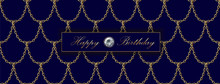 Golden Chain Luxury Sale Banner Template. Dark Deep Blue Gold Fish Scales. Promotional Commercial Offer Invitation Vector Illustration