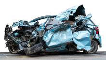 Isolate Car Demolished Accident.