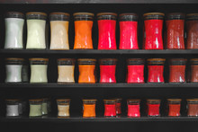 Candle Store Scented Candles Shelves Black Background Shelf Matte