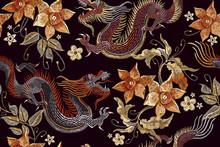 Embroidery Dragons And Flowers...
