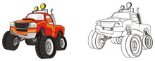 Monster, Truck, Monster Truck, Big Foot Car, Big Foot, Extreme, Auto, Motor Racing, Motor, Cartoon, Transport, Car, Bumper, Big, Up,  Driving, Outside Driving, Wheel, Two, Colored, Coloring