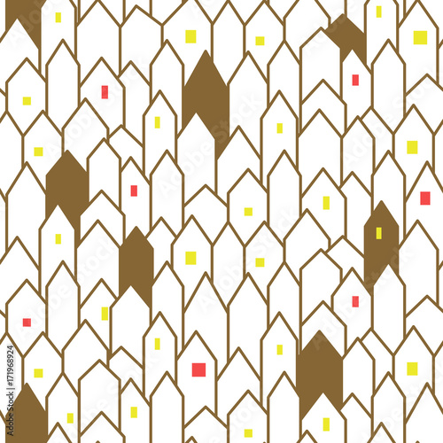 Gold And White Abstract Houses Seamless Vector Pattern
