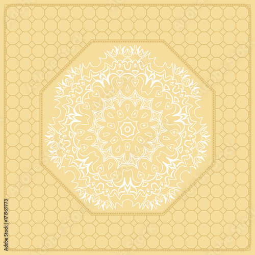 Template Print for Fabric  Pattern of Mandala with Border
