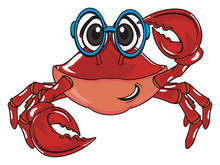 Crab, Claw, Shell, Cartoon, Marine Life, Ocean,  Red, Pink, Blue, Glasses
