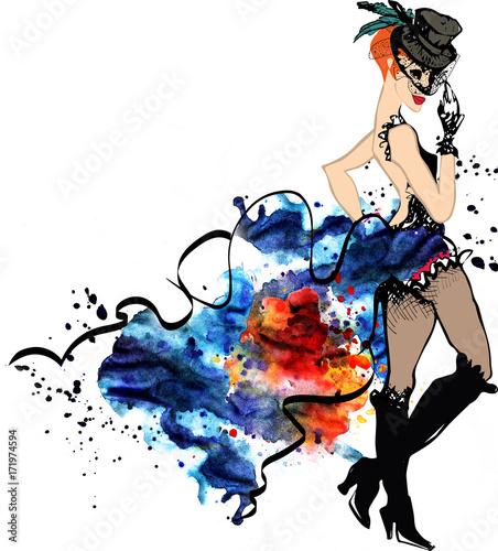 Cabaret dancer.Watercolor splash.can can.girl Canvas Print