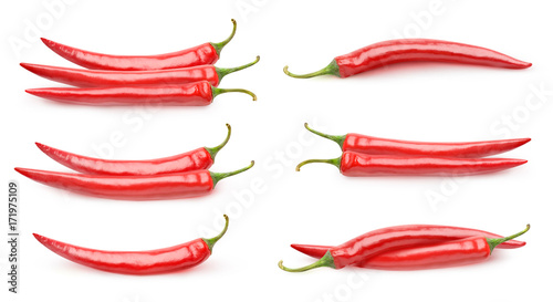 Canvas Prints Hot chili peppers Isolated peppers collection. Piles of red hot peppers isolated on white background with clipping path