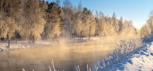 Fototapeta Inspiracje na zimę утренний зимний морозный пейзаж с туманом и лесом на берегу реки, Россия, Урал, январь