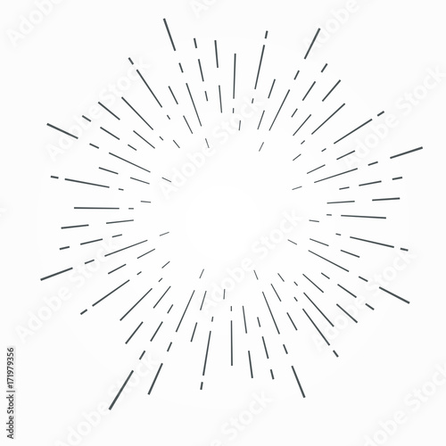 Fotografie, Obraz  Vintage hand drawn sunburst vector illustration