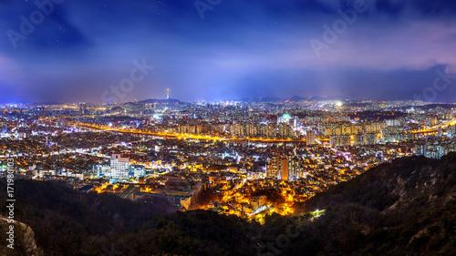 Obraz na płótnie Panorama w centrum pejzaż miejski i Seul górujemy w Seul, Południowy Korea.