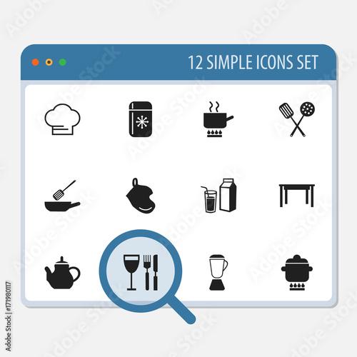 Fotografia, Obraz  Set Of 12 Editable Restaurant Icons