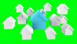 Leinwanddruck Bild - 3D rendered small white and blue houses