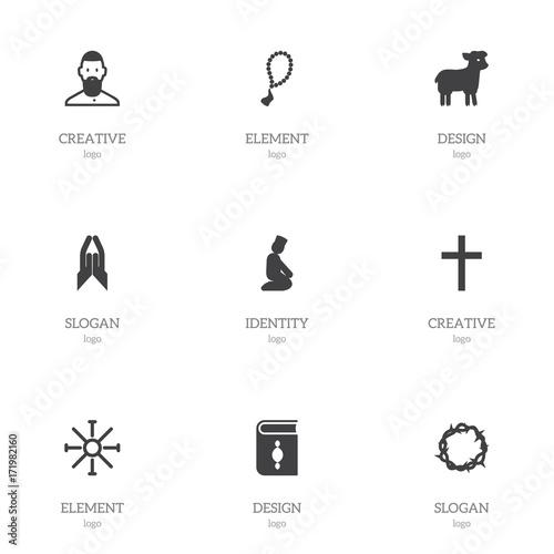 Set Of 9 Editable Faith Icons Includes Symbols Such As Sun Symbol