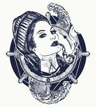 Woman Sailor Tattoo And T-shir...