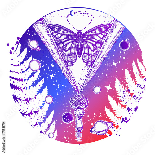 Fotobehang Draw Universe and butterfly tattoo art. Symbol of esoterics, galaxy, universe, meditation, mysticism, astrology, dream. Surreal Universe, planet and star t-shirt design