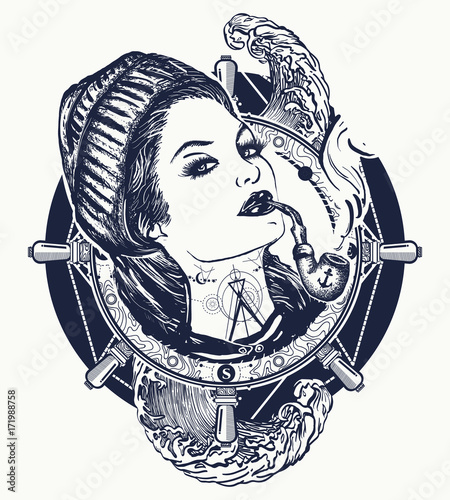 Cuadros en Lienzo Woman sailor tattoo and t-shirt design