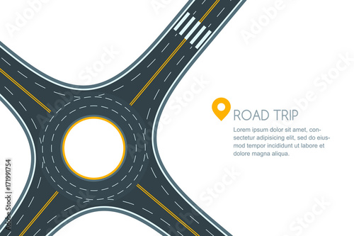 Fotografie, Obraz  Roundabout road junction, isolated on white background